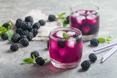 Refreshing lemonade with blackberry. Ice and mint Stock Photography