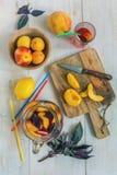 Refreshing lemonade fruit and purple basil. Royalty Free Stock Image
