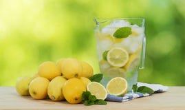 Refreshing lemonade. Refreshing ice cold lemonade with mint royalty free stock photo