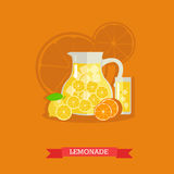 Refreshing lemonade with lemons, oranges and ice, vector. Pitcher and glass of lemonade with slices of lemons and ice cubes. Refreshing lemonade, fresh lemons Royalty Free Stock Photography