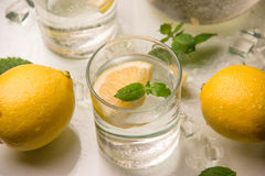 Refreshing lemonade with mint Stock Photos