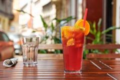 Refreshing lemonade on wooden table Royalty Free Stock Image
