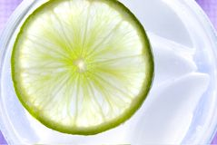 Refreshing lime. Slice off lime shot top down in a glass of water royalty free stock image