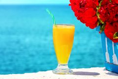Refreshing looking orange juice by the sea Royalty Free Stock Photos
