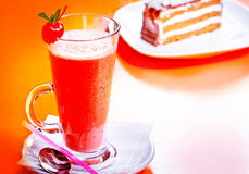 Refreshing mixed drink. With cherry Royalty Free Stock Images