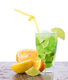 Refreshing mixes with tropical fruit Stock Photos