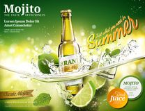 Refreshing mojito ads. With a bottle of beverage dropping into transparent liquid in 3d illustration, green bokeh background stock illustration