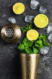Refreshing Mojito cocktail, flat lay concept. Alcohol background bar barman bartender beverage black caipirinha citrus cold cool copyspace cuban drink equipment royalty free stock images