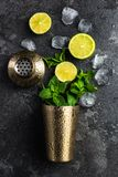 Refreshing Mojito cocktail, flat lay concept. Alcohol background bar barman bartender beverage black caipirinha citrus cold cool copyspace cuban drink equipment royalty free stock photography