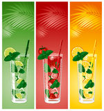 Refreshing mojito cocktails. Lime, strawberry and orange with mint royalty free illustration