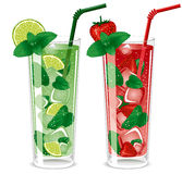 Refreshing mojito cocktails. Lime and strawberry with mint royalty free illustration