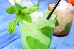 Refreshing mojito on a rustic blue table Royalty Free Stock Images