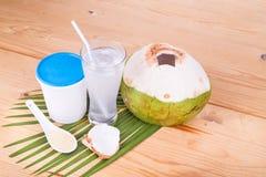 Refreshing natural coconut juice with yogurt drinks helps digest. Refreshing natural coconut juice with yogurt drinks helps food digestion Stock Photos