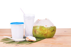 Refreshing natural coconut juice with yogurt drinks helps digest Royalty Free Stock Photos