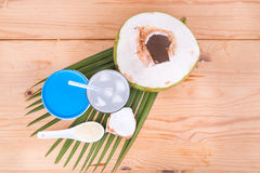 Refreshing natural coconut juice with yogurt drinks helps digest. Overhead view of refreshing natural coconut juice with yogurt drinks helps food digestion Stock Photos