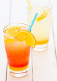 Refreshing natural orange juice and lemonade Stock Photography