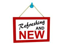 Refreshing and new sign isolated. Red framed sign hanging on hook that says Refreshing and NEW Stock Photo