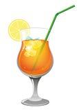 Refreshing orange cocktail. Orange cocktail with lemon and ice cubes on white background royalty free illustration