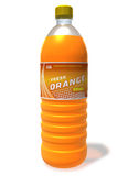 Refreshing orange drink in plastic bottle Stock Images
