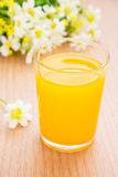Refreshing orange juice and flowers Stock Images