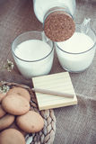 Refreshing Organic White Whole Milk and cookies Stock Photography