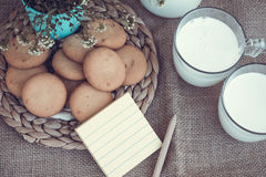 Refreshing Organic White Whole Milk and cookies Royalty Free Stock Photos