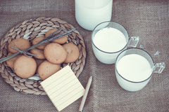 Refreshing Organic White Whole Milk and cookies Royalty Free Stock Photo