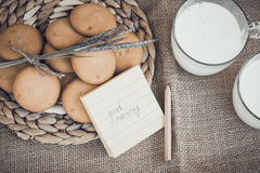 Refreshing Organic White Whole Milk and cookies Royalty Free Stock Image