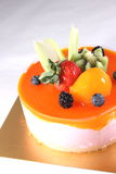 Refreshing peach mousse with tangerines Royalty Free Stock Photo