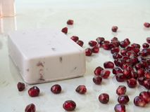 Refreshing Pomegranate Soap royalty free stock images
