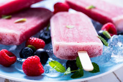 Refreshing popsicle with berry fruits. Summer time Stock Photography