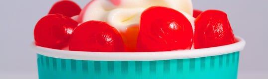 Refreshing Provocative tropical cherry smoothie. Yogurt icecream Stock Images
