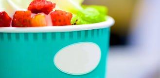 Refreshing Provocative tropical fruits icecream. Refreshing Provocative tropical cherry smoothie yogurt icecream Stock Image
