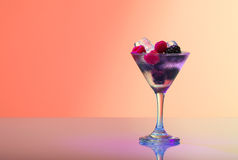 Refreshing raspberry and blackberry cocktail with ice Royalty Free Stock Photography
