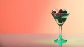 Refreshing raspberry and blackberry cocktail with ice Royalty Free Stock Photos