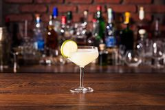 Refreshing Rum Daiquiri Cocktail. On a Bar royalty free stock photo