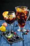 Refreshing sangria with fruits Royalty Free Stock Image