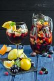 Refreshing sangria with fruits Stock Image
