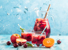 Refreshing sangria or punch with fruit Royalty Free Stock Image