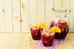 Refreshing sangria (punch) with fruits Royalty Free Stock Photo