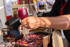 Refreshing sangria served on food stall. Stock Image