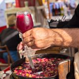 Refreshing sangria served on food stall. Stock Photo