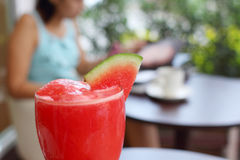 Refreshing with smoothie watermelon Royalty Free Stock Image