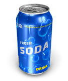 Refreshing soda drink in metal can. Isolated on white background Stock Photo