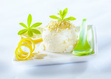 Refreshing sour lemon sorbet dessert. Served with coiled lemon zest on a square porcelain platter Royalty Free Stock Photo