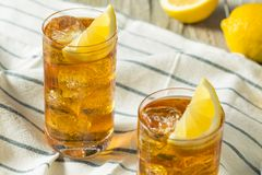 Refreshing Southern Sweet Iced Tea. With Lemon Stock Photos
