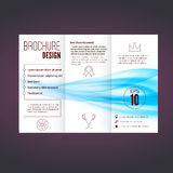 Refreshing speed blue swoosh wave brochure. Abstract modern print design layout. Vector illustration Royalty Free Stock Images