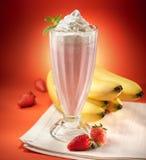 Refreshing Strawberry Banana Milkshake Royalty Free Stock Photos