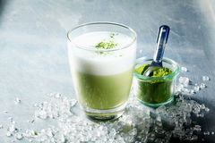 Refreshing summer cocktail flavoured with matcha Royalty Free Stock Image