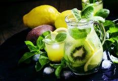 Refreshing summer cocktail with green basil, lemon, kiwi fruit a royalty free stock photos